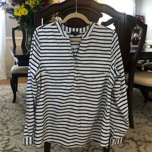 Blue and white strip limited blouse; large